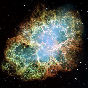 The Star Explodes! The Crab Nebula, remnants of a supernova that was first observed around 1050 AD.