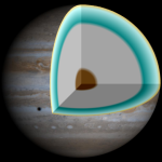 This cut-away illustrates a model of the interior of Jupiter, with a rocky core overlaid by a deep layer of liquid metallic hydrogen. Image from NASA