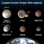 These artist's concepts show some of the best known objects in the Kuiper Belt in comparison to Earth. It was labeled before the objects got their official names. Image from NASA