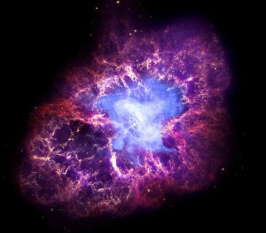 Multi-wavelength image of the Crab Nebula, seen in x-rays (Chandra), optical (Hubble) and infrared (Spitzer). X-RAY: NASA/CXC/SAO/F.SEWARD; OPTICAL: NASA/ESA/ASU/J.HESTER & A.LOLL; INFRARED: NASA/JPL-CALTECH/UNIV. MINN./R.GEHRZ)
