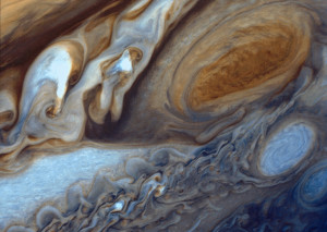 Close-up of swirling clouds around Jupiter's Great Red Spot. NASA