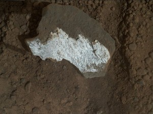 Closeup of Tintina rock, showing a bright white feature. (Photo from NASA)