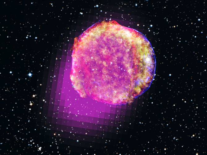Gamma-rays detected by Fermi's LAT show that the remnant of Tycho's supernova shines in the highest-energy form of light. This portrait of the shattered star includes gamma rays (magenta), X-rays (yellow, green, and blue), infrared (red) and optical data. (Credit: Gamma ray, NASA/DOE/Fermi LAT Collaboration; X-ray, NASA/CXC/SAO; Infrared, NASA/JPL-Caltech; Optical, MPIA, Calar Alto, O. Krause et al. and DSS)