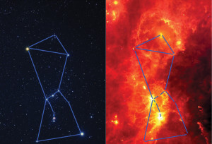 The visible light (left) and infrared (right) images of the constellation Orion shown here are of the exact same area. These images dramatically illustrate how features that cannot be seen in visible light show up very brightly in the infrared. (Credits: Visible light image: Akira Fujii; Infrared image: Infrared Astronomical Satellite )