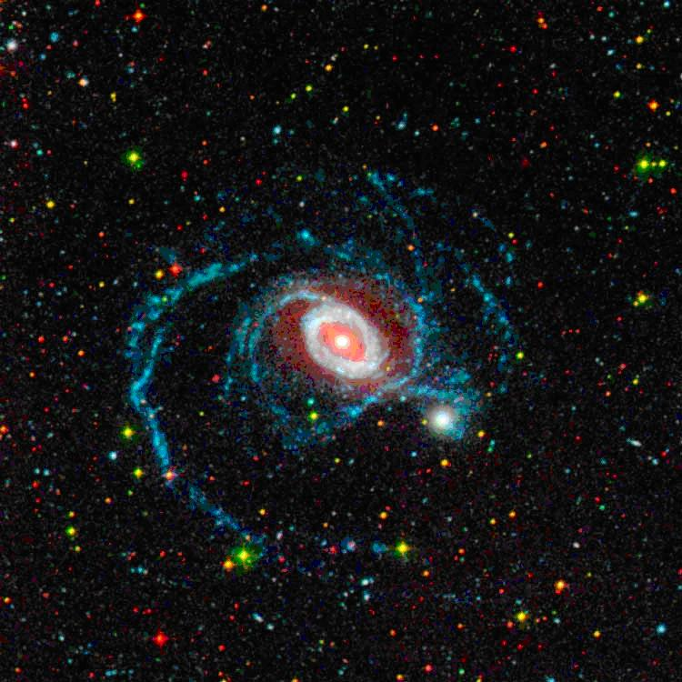 In this image of galaxy NGC 1512, red represents its visible light appearance, the glow coming from older stars, while the bluish-white ring and the long, blue spiral arms show the galaxy as the Galaxy Evolution Explorer sees it in ultraviolet, tracing primarily younger stars. (Credit: NASA/JPL-Caltech/DSS/GALEX