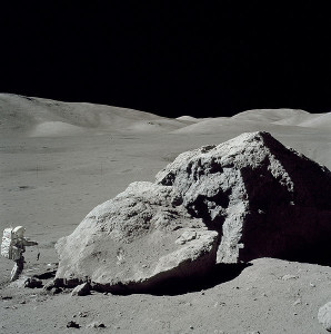 """Planetary geologist and NASA astronaut Harrison """"Jack"""" Schmitt collecting lunar samples during the Apollo 17 mission. NASA"""