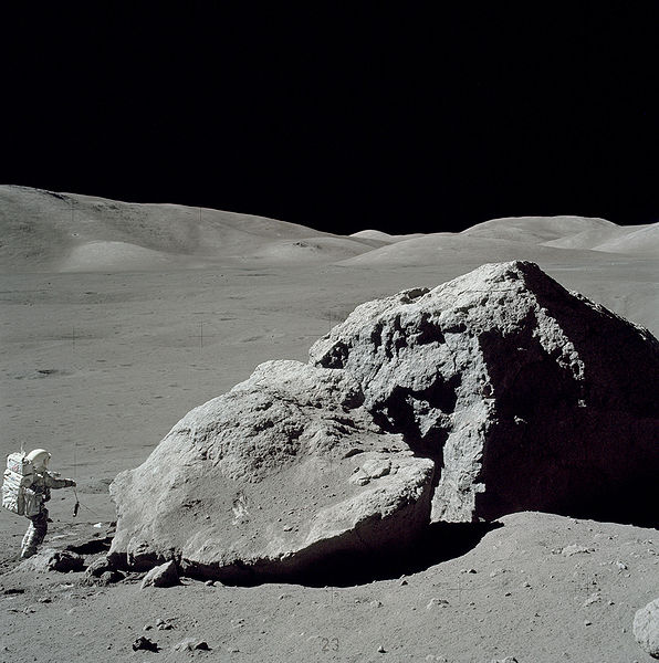 "Planetary geologist and NASA astronaut Harrison ""Jack"" Schmitt collecting lunar samples during the Apollo 17 mission. NASA"