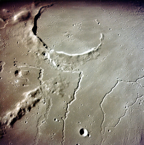 Photograph from Apollo 15 orbital unit of the rilles in the vicinity of the crater Aristarchus on the Moon. The arrangement of the two valleys is very similar, although one third the size, to Great Hungarian Plain rivers Danube and Tisza. Photo from NASA