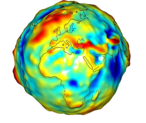 A map of deviations in gravity from a perfectly smooth, idealized Earth. Credit: Wikipedia