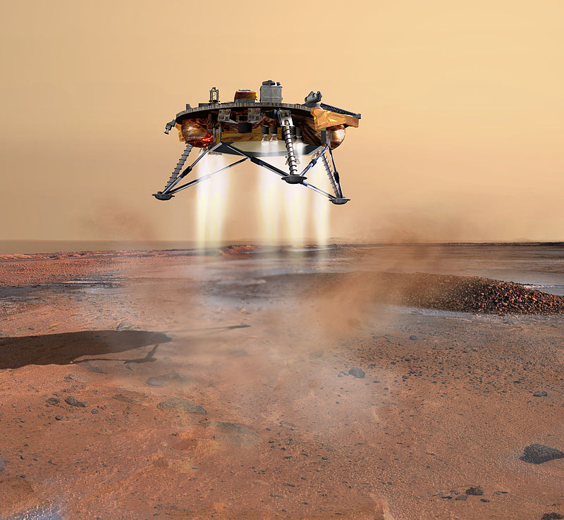 An artist's rendition of the Phoenix Mars probe during landing.