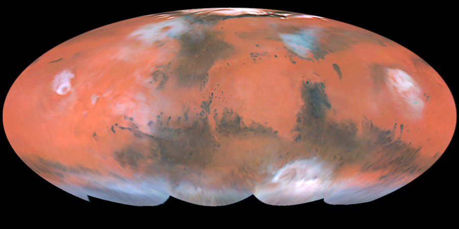 Full-color global map showing the regions of Mars imaged by the Hubble telescope
