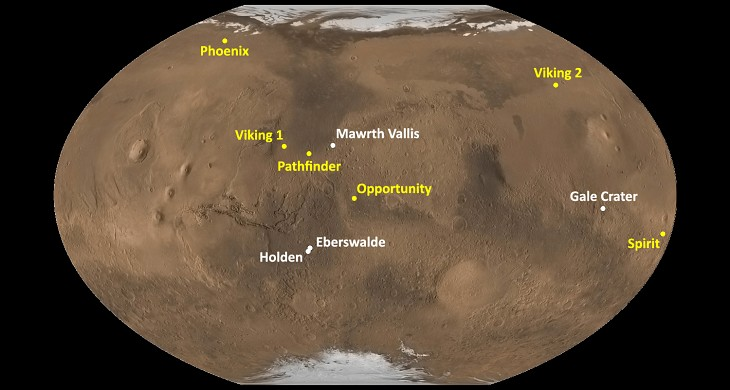 Mars Landings Map - Pics about space